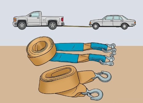 How to tow cars using straps
